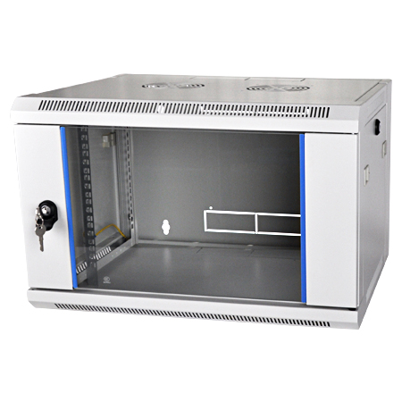 19 Zoll Wandschrank Flat Pack Netzwerk Wandverteiler Tiefe 600 mm lichtgrau