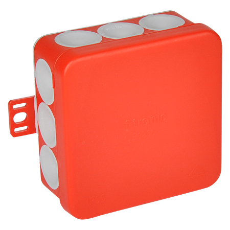 Abzweigdose IP55 mit Durchstoßmembran 80x80x37 mm rot