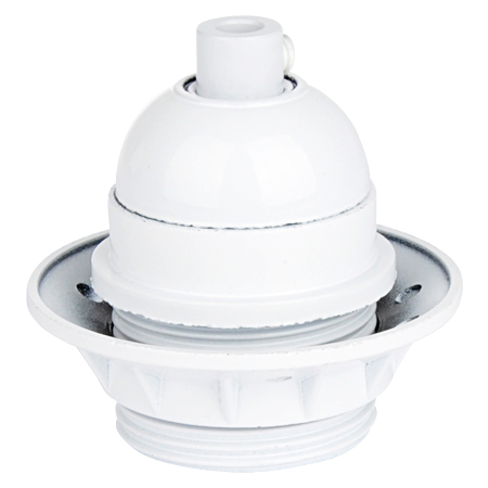Retro Lampenfassung E27 aus Kunstharz mit Schraubring weiß