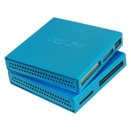 LogiLink Cardreader USB 2.0 All-in-One Alu blau