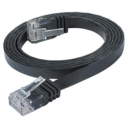 Cat.6 Patchkabel RJ45 LAN Kabel flach slim UTP schwarz 15 m