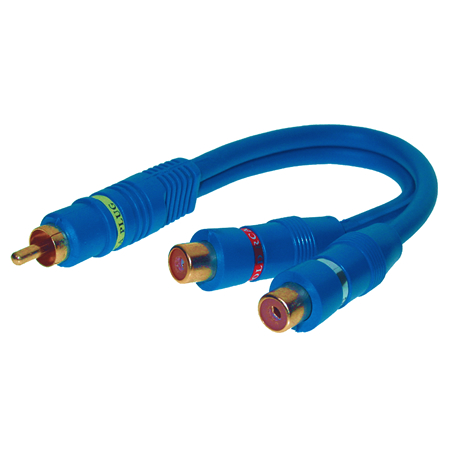 Cinch Y-Kabel Stecker 2xBuchse blau
