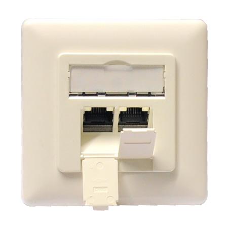 Netzwerkdose Cat.6a 2xRJ45 Unterputz reinweiß