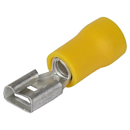 Flachsteckhülse isoliert gelb