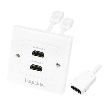 LogiLink HDMI Wanddose mit 2 x HDMI Buchse