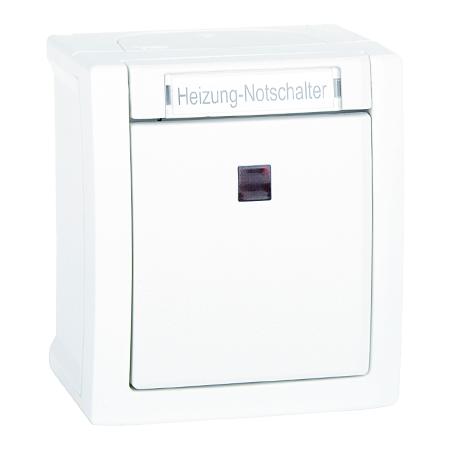 Heizungs Notschalter beleuchtet Aufputz Feuchtraum IP54 weiß