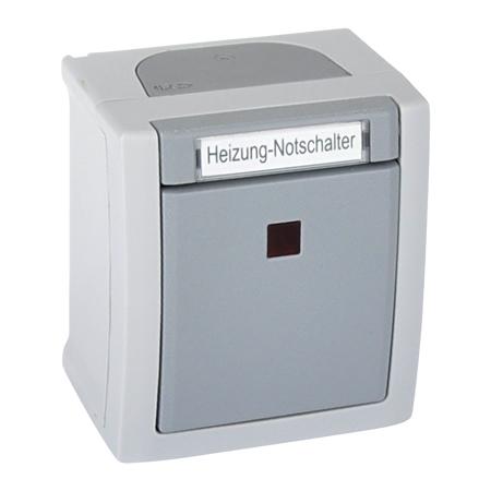 Heizungs Notschalter beleuchtet Aufputz Feuchtraum IP54 grau