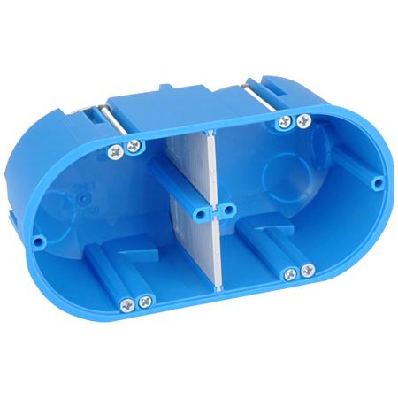 Hohlwanddose massiv blau 2-fach