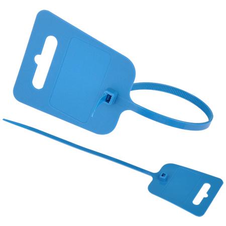 Kabelbinder mit Euroloch und Beschriftungsfeld blau