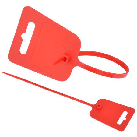 Kabelbinder mit Euroloch und Beschriftungsfeld rot