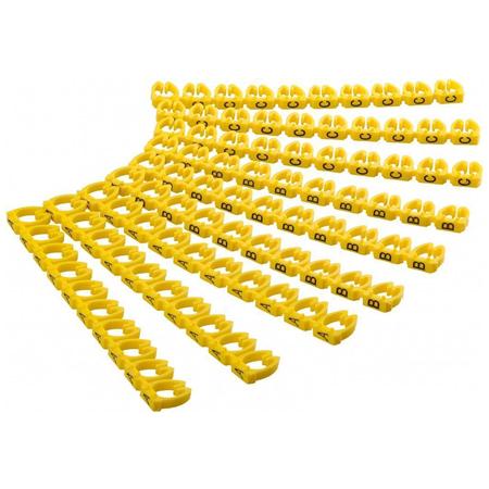 Kabelmarkierung Kabelmarker Clips A-C gelb 90-teilig