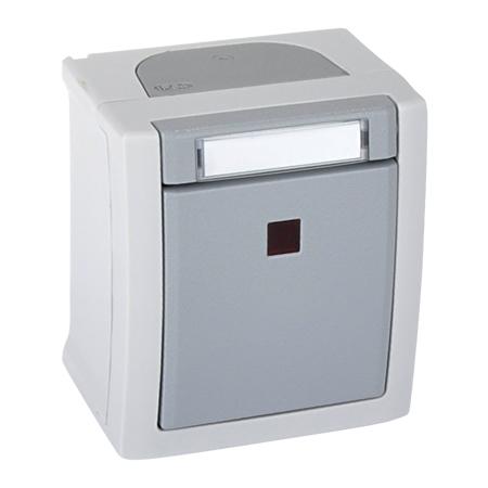 Kontrollschalter beleuchtet Aufputz Feuchtraum IP54 grau