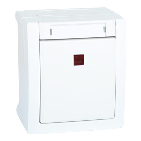 Kontrollschalter beleuchtet Aufputz Feuchtraum IP54 weiß