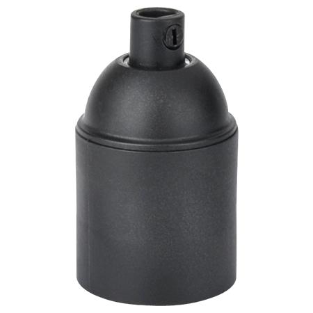Kunststoff Fassung E27 schwarz mit Klemmnippel