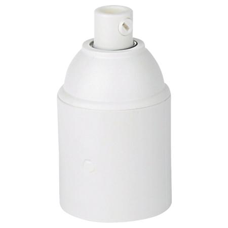 Kunststoff Fassung E27 weiß mit Klemmnippel