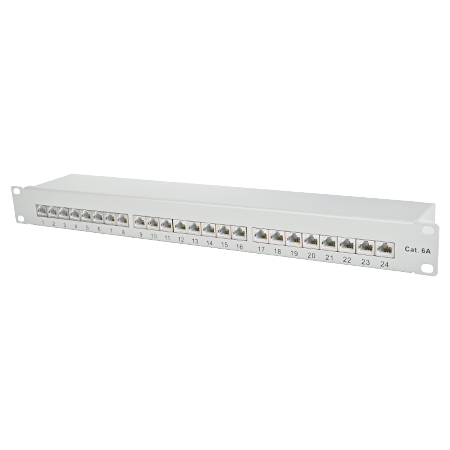 Patchfeld / Patchpanel 24-Port Cat.6a lichtgrau
