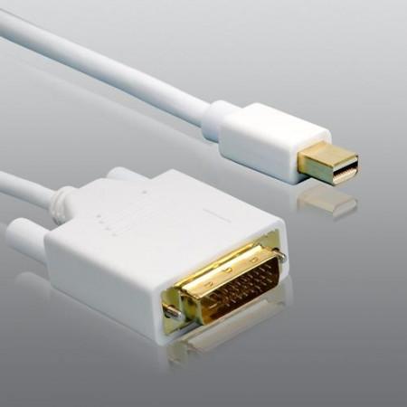 Mini DisplayPort Stecker auf DVI-D Kabel weiß