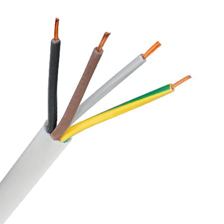PVC-Schlauchleitung H03VV-F 4x0,75 mm² weiß