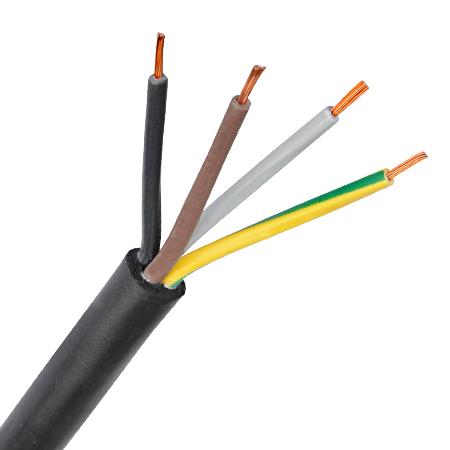 PVC-Schlauchleitung H03VV-F 4x0,75 mm² schwarz