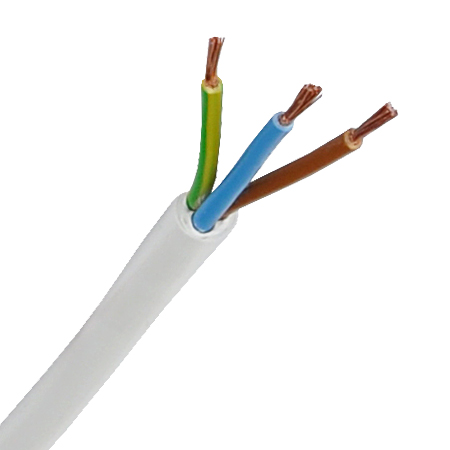 PVC-Schlauchleitung H05VV-F 3x0,75 mm² weiß
