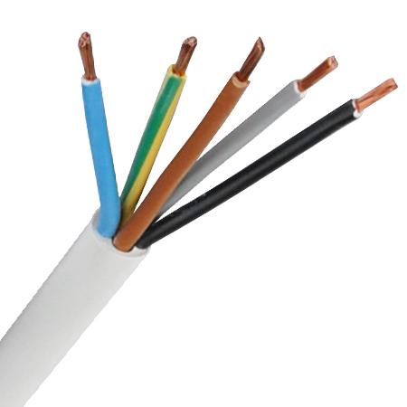 PVC-Schlauchleitung H05VV-F 5x0,75 mm² weiß Meterware