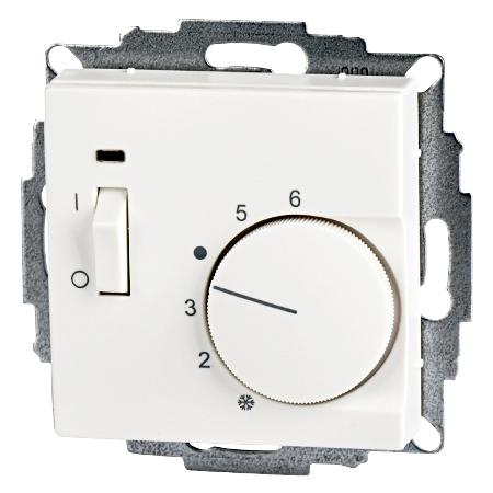 Raumtemperaturregler mit Schalter Unterputz 55x55 reinweiß matt