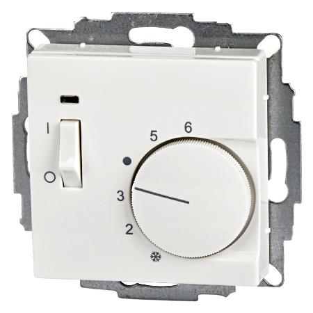 Raumthermostat UP mit Schalter 55x55 reinweiß glänzend