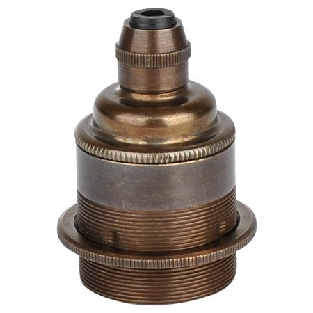 Retro Lampenfassung E27 Metall Bronze mit Klemmnippel