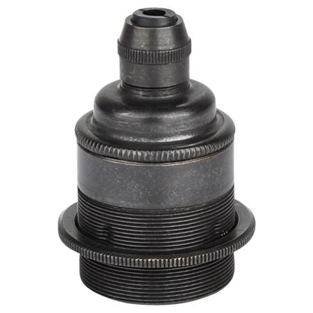 Retro Lampenfassung E27 Metall Schwarz mit Klemmnippel