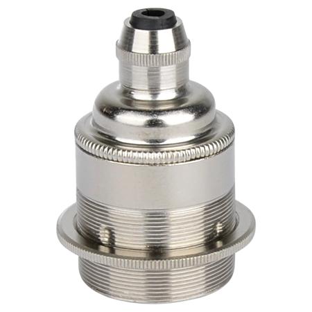 Retro Lampenfassung E27 Metall Silber mit Klemmnippel