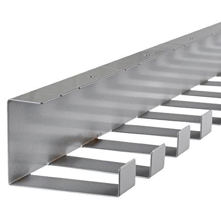 Schreibtisch Kabelwanne Metall 60x80 mm silber 1,46 m