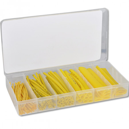 Schrumpfschlauch Sortiment gelb 100-teilig