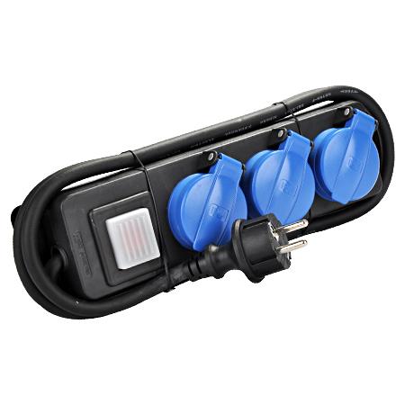 Steckdosenleiste 3-fach mit Schalter für den Außenbereich IP44