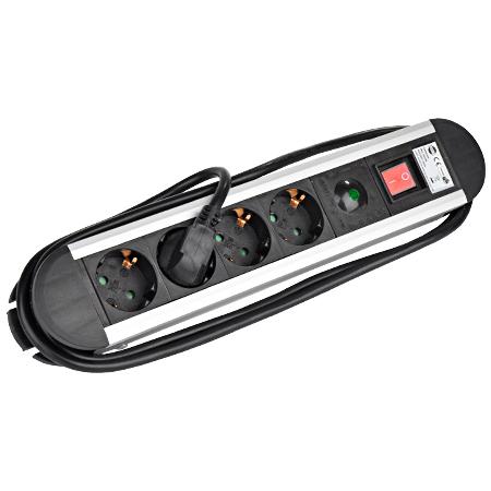 Steckdosenleiste 4-fach Überspannungsschutz, Schalter Alu