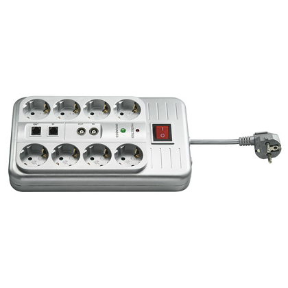 Steckdosenleiste 8-fach Überspannungsschutz, Schalter silber