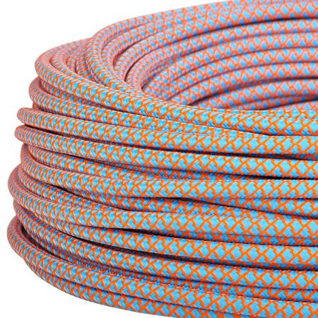 Textilkabel Stoffkabel 3x0,75 mm² azurblau orange Gitter