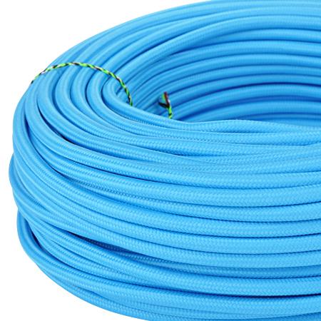 Textilkabel Stoffkabel 3x0,75 mm² azurblau