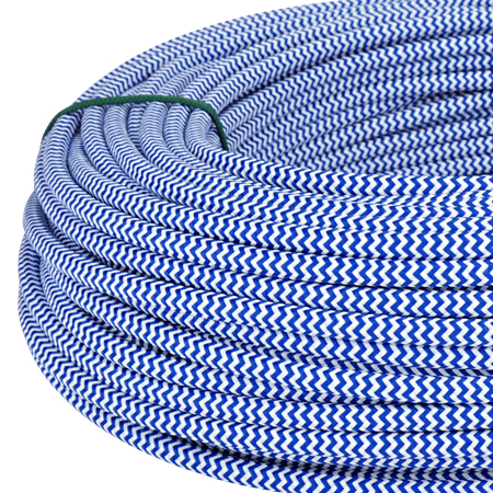 Textilkabel Stoffkabel 3x0,75 mm� blau wei� Zick Zack