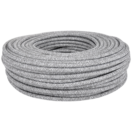 Textilkabel Stoffkabel 3x0,75 mm² Canvas Jute grau
