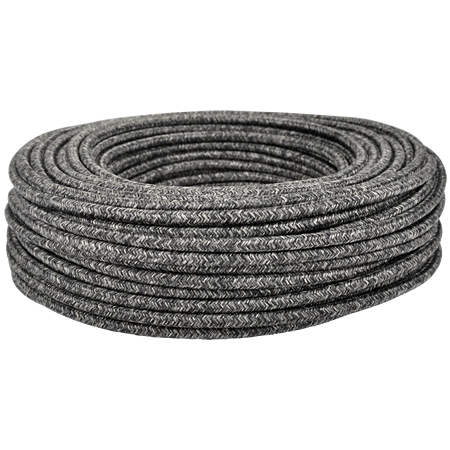 Textilkabel Stoffkabel 3x0,75 mm² Canvas Jute schwarz