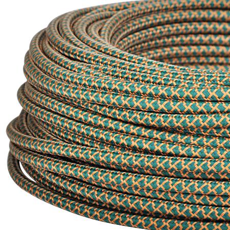 Textilkabel Stoffkabel 3x0,75 mm² dunkelgrün kupfer Gitter