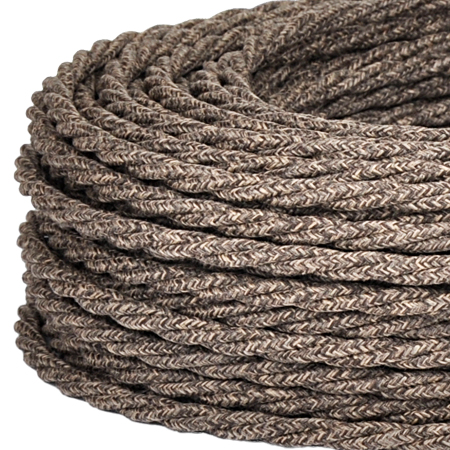 Textilkabel Stoffkabel gedreht 3x0,75 mm² Canvas Jute braun