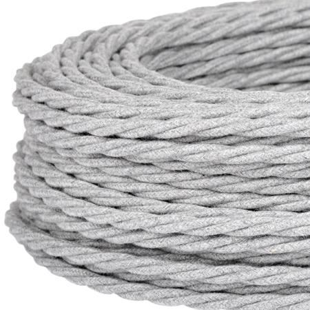 Textilkabel Stoffkabel gedreht 3x0,75 mm² grau meliert