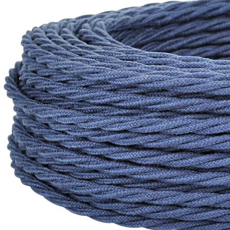 Textilkabel Stoffkabel gedreht 3x0,75 mm² jeansblau