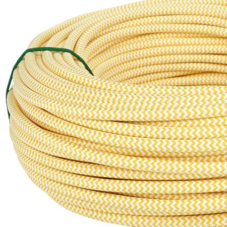 Textilkabel Stoffkabel 3x0,75 mm² gelb weiß Zick Zack