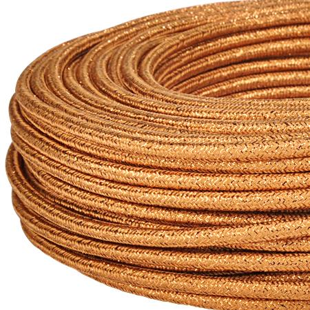 Textilkabel Stoffkabel 3x0,75 mm² Glitter kupfer