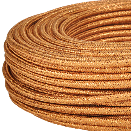 Textilkabel Stoffkabel 3x0,75 mm² Glitter kupfer 10 m