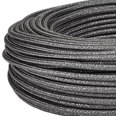 Textilkabel Stoffkabel 3x0,75 mm² Glitter schwarz