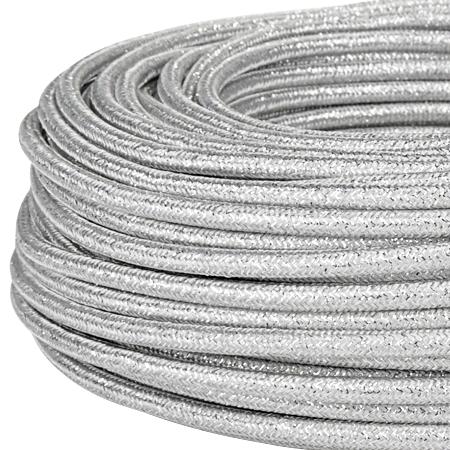 Textilkabel Stoffkabel 3x0,75 mm² Glitter silber
