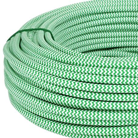 Textilkabel Stoffkabel 3x0,75 mm² grün weiß Zick Zack